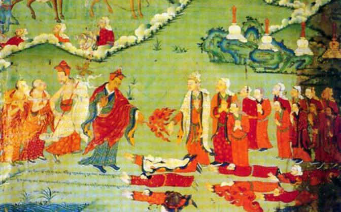 Vua và đoàn tùy tùng đảnh lễ Đức Liên Hoa Sanh