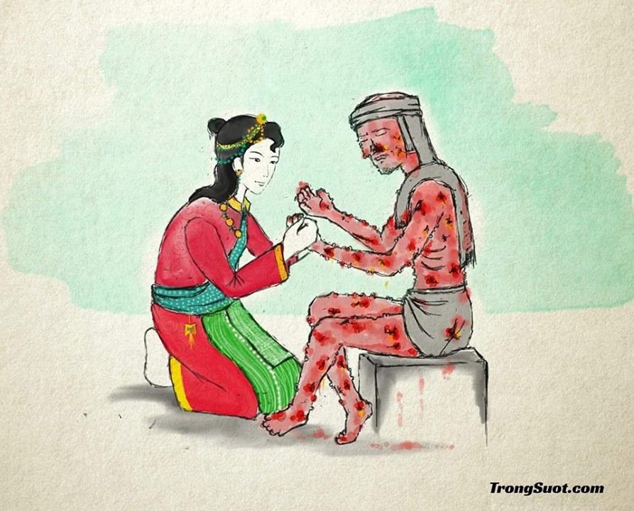 Tsogyal đồng ý làm vợ hiền cho một người bị bệnh cùi
